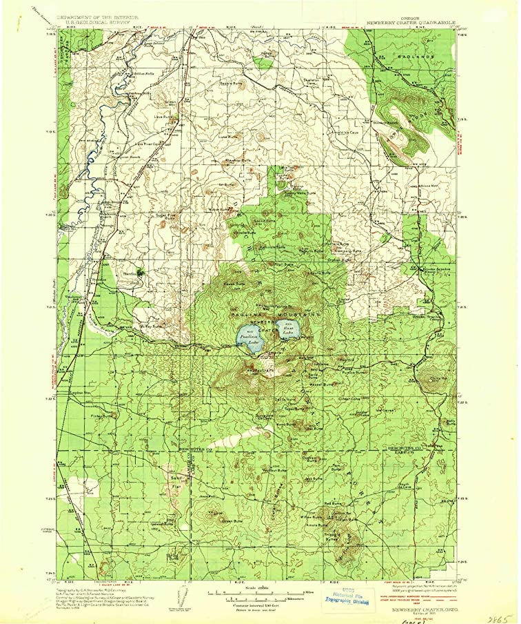 YellowMaps Newberry Crater OR topo map, 1:125000 Scale, 30 X 30 Minute, Historical, 1935, Updated 1935, 19.8 x 16.6 in