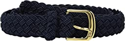 "LAUREN Ralph Lauren 1 1/4"" Woven Elastic Stretch Belt with Roller Engraved Buckle"