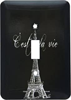 3dRose lsp_178953_1 French Black and White Eiffel Tower Light Switch Cover