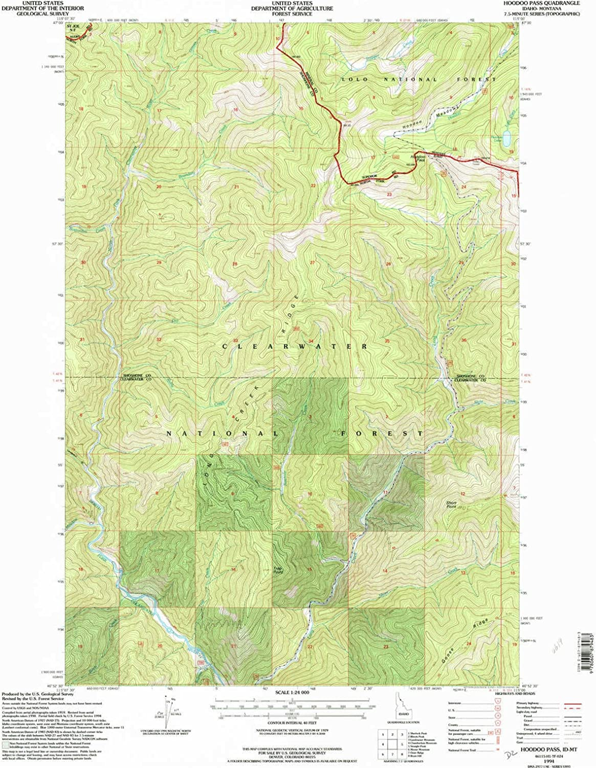 Hoodoo Pass ID topo map, 1 24000 Scale, 7.5 X 7.5 Minute, Historical, 1994, Updated 1997, 26.9 x 22.1 in