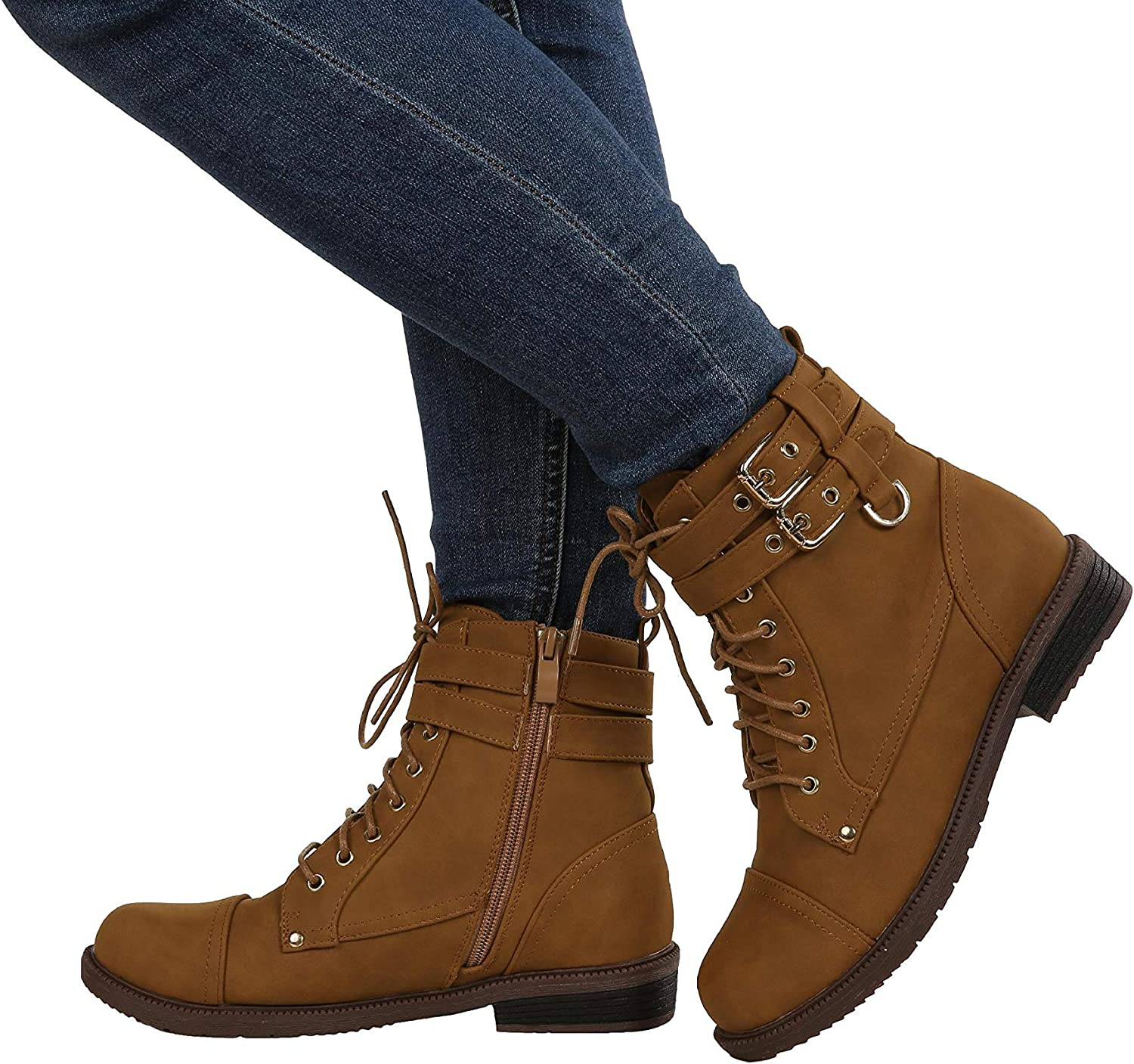 Gemijack Womens Combat Military Boots Buckle Lace Up Faux Leather Low Heel Booties