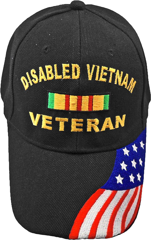 Disabled VIETNAM Veteran Baseball Cap Black Hat American Flag Army Marine Navy