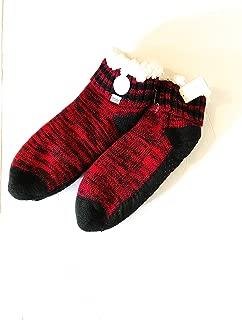 NWT Victoria Secret RED Black Soft Sherpa Lined Slipper Socks ONE Size