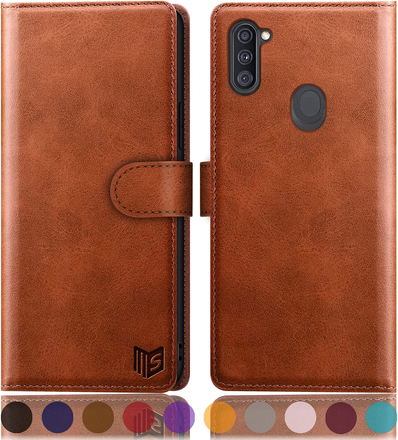 SUANPOT for Samsung Galaxy A11 with RFID Blocking Leather Wallet case Credit Card Holder, Flip Folio Book Phone case Shockproof Accessories Cover for Women Men for Samsung A11 case Wallet