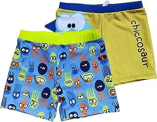 Boys Boardshorts UPF 50+ Sun Protection Swim Shorts with Sun Cap 2 Pack