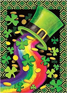 Happy St Patrick's Day Green Hat Shamrock Clovers Leaf Rainbow Double Sided House Flag Garden Banner 28