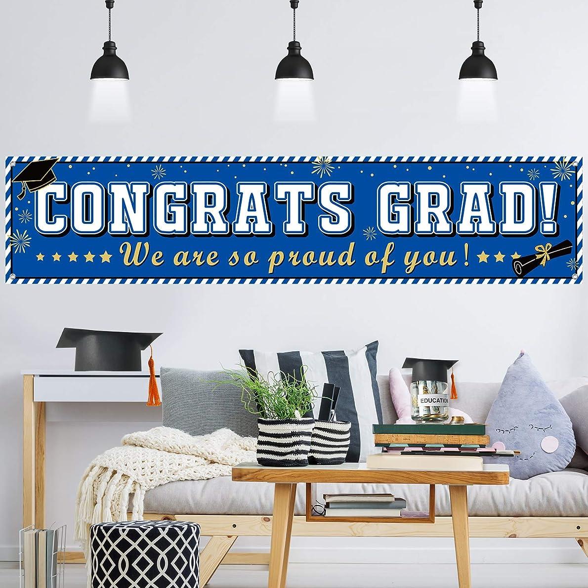 Graduation Banner 2019 Congrats Grad Banner Blue Graduation Decorations Fabric Grad Party Backdrop for 2019 Graduation Party Supplies htlvmw6062
