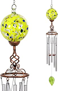 Exhart Solar Hand-Blown Glass Ball with Finial Wind Chime, Bronze Finish, Finial Design, Solar Powered Accent Light, Yellow 5