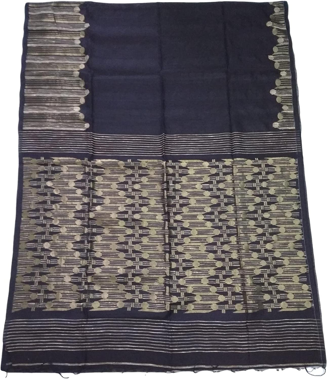 Black Soft Rashom Handloom Saree With golden Geecha Border And Geecha Anchal.