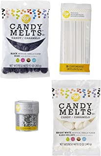 Wilton Black, White and Silver Cake Pop and Lollipop Decorating Set, 4-Piece