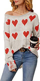 Tutorutor Womens Cute Love Heart Print Sweaters Oversized Off The Shoulder Loose Knitted Valentine Pullover BlouseTop