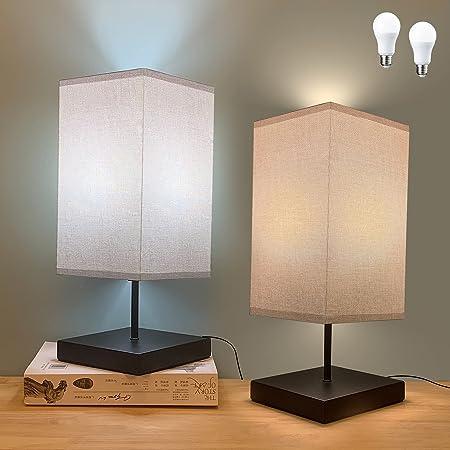 2 Pièces Lampe de Chevet LED, GLUROO USB Contrôle Tactile Lampe de Table Carré, Lampe de Bureau avec Abat-jour en Tissu et 2 Dimmable LED Ampoules pour Chambre, Salon, Bureau