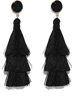 Colorful Gradient Layered Tassel Handmade Tiered Thread Druzy Drop Dangle Bohemian Earrings