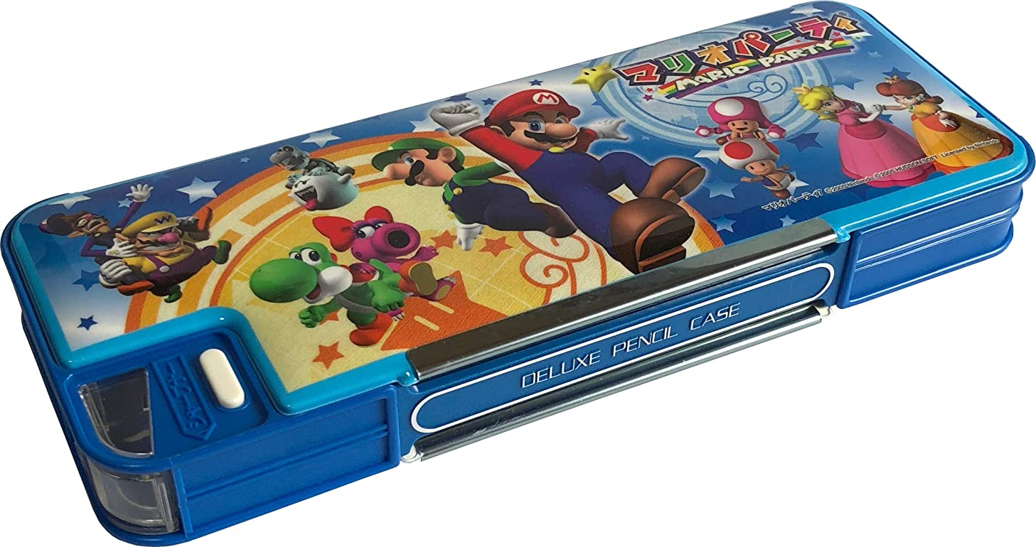 Super Mario Party Both sides opening Dellixe Pencil Cace Removable pencil with Sharpener Japan