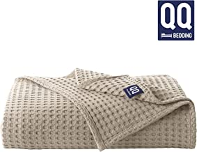 QoupQuru Turkish Cotton Waffle Weave Bed Blanket - Perfect for Home Décor in Winter - 6 Colors & Queen/King/Twin Size Thermal Blankets (Twin Size, Beige)