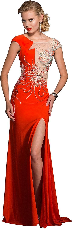 Clarisse Women's Geometric Floral Prom Dress 2623 Size 0 orange