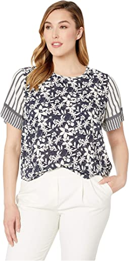 Plus Size Short Sleeve Floral Lace Mix Print Blouse