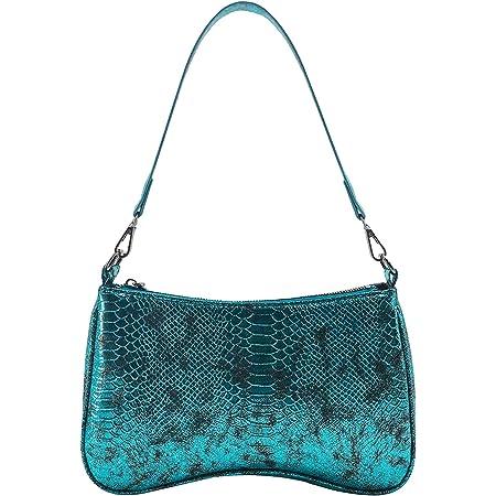 OUTTUO Umhängetasche, Damen Schultertasche, Retro Achsel Tasche,Damen Vintage Schulter Handtasche Kunstleder-Blau