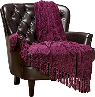 Chanasya Chenille Velvety Texture Decorative Throw Blanket with Tassels Super Soft Cozy Classy Elegant with Shimmer for Sofa Couch Bed Living Bed Room Purple Throw Blanket (50x65 Inches) Aubergine
