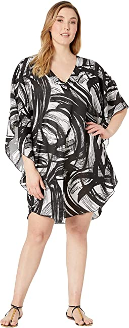 Plus Size Printed Tidal Wind Chiffon Caftan Cover-Up