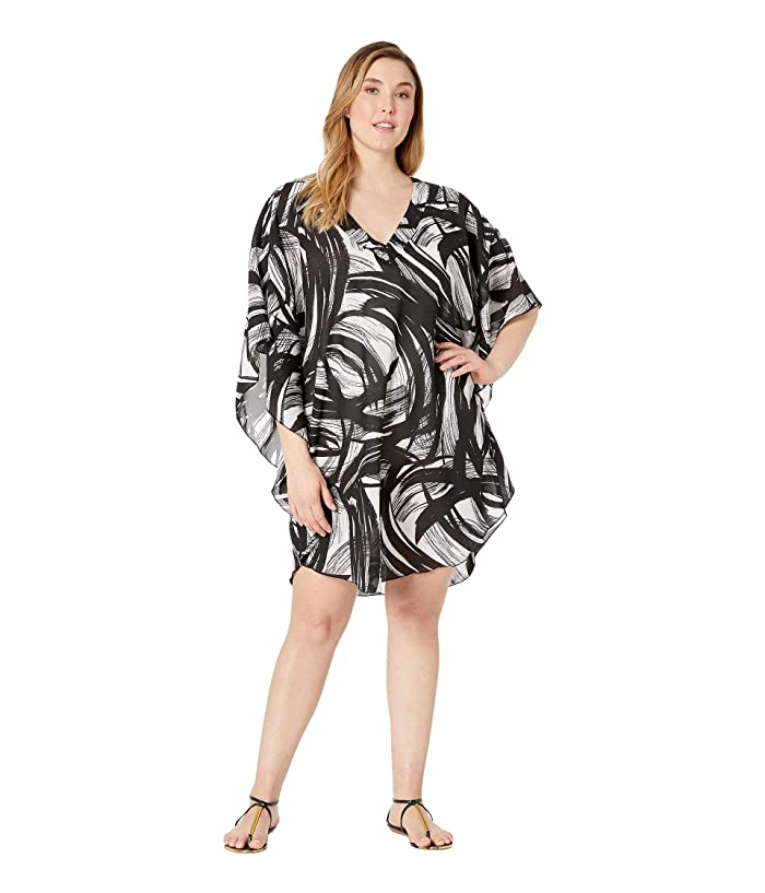 Maxine of Hollywood Swimwear Plus Size Printed Tidal Wind Chiffon Caftan Cover-Up (Black) Women