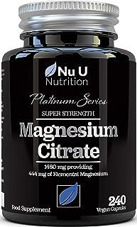 Magnesium Citrate 1480mg - Magnesium Capsules not Magnesium Tablets - Providing 444mg Elemental Magnesium - 240 Vegan Caps...