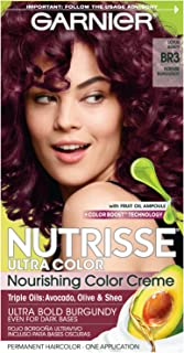 Garnier Nutrisse Ultra Color Nourishing Permanent Hair Color Cream, BR3 Intense Burgundy (1 Kit) Red Hair Dye (Packaging May Vary), Pack of 1