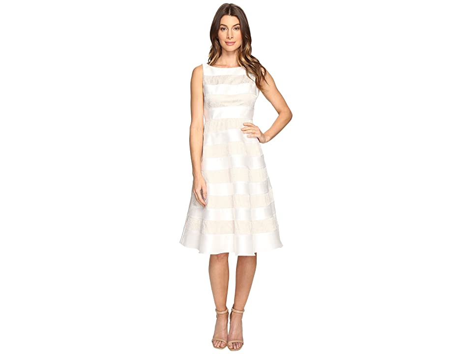Adrianna Papell Striped Lace Mikado Cocktail Dress (Ivory) Women
