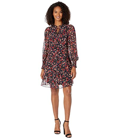 Calvin Klein Floral Print Chiffon Dress (Magenta Multi) Women