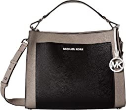 477d695263c6 Pearl Grey/Optic White/Black. 8. MICHAEL Michael Kors. Gemma Medium Pocket  Top-Handle Satchel
