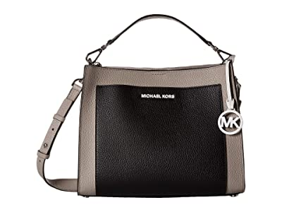 MICHAEL Michael Kors Gemma Medium Pocket Top-Handle Satchel (Pearl Grey/Optic White/Black) Satchel Handbags