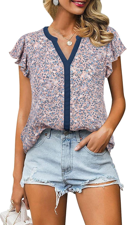Award Gaharu Women's Notch Max 46% OFF V Neck Short Shirts Casual Chiffon L Sleeve