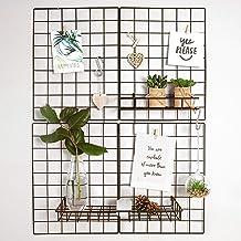 Gadgy Set van 2 opvouwbare wandrasterdecoratie   Metalen organizer Memo Board met accessoires   Wire Mesh panelen voor fot...