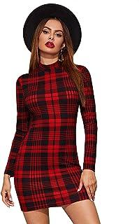 SheIn Women's Casual Mock Neck Long Sleeve Plaid Pencil Mini Party Bodycon Dress