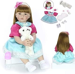 KEIUMI 24 Inch Newborn Girl Realistic Reborn Baby Doll Cloth Body 60 cm with Long Hair Toddler Birthday Gifts (Blue)
