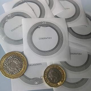 10 x etykiety NFC | Chip NXP NTAG213 | Pamięć 144 Bajtów | Bardzo szeroka okrągła antena 45 mm | Ultra-cienka 0,15 mm | sa...
