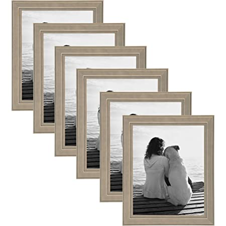DesignOvation Kieva Solid Wood Picture Frames Distressed Black 4x6 Pack of 6