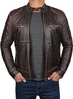Black Mens Lambskin Leather Moto Jacket | Dodge Dark Brown, 2XL