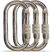 O-Shaped Steel Climbing Carabiner(25kn=5600lb)Screw Lock Spring Gate Protection,CE Rated Heavy Duty Carabiners For Rock Climbing Rappelling Hiking Hanging Ropes Camping Slack Lines Rigging & Anchoring