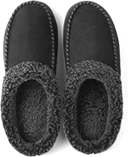Men's Cozy Memory Foam Moccasin Suede Slippers with Fuzzy...