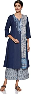 BIBA Women's Cotton a line Salwar Suit Set
