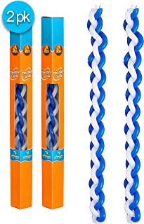 Ner Mitzvah Braided Havdalah Candle - 2-Pack - Flat Blue and White Paraffin Wax - Handcrafted Havdallah Candle - Shabbat Judaica Gift