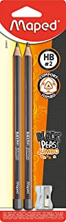 Maped Black Peps M854041/Pencil Jumbo With Sharpener, Pack Of 2