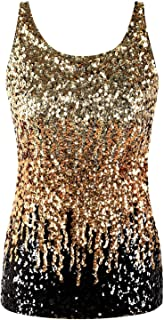 PrettyGuide Shimmer Glam Sequin Embellished Sparkle Tank Top Vest Tops