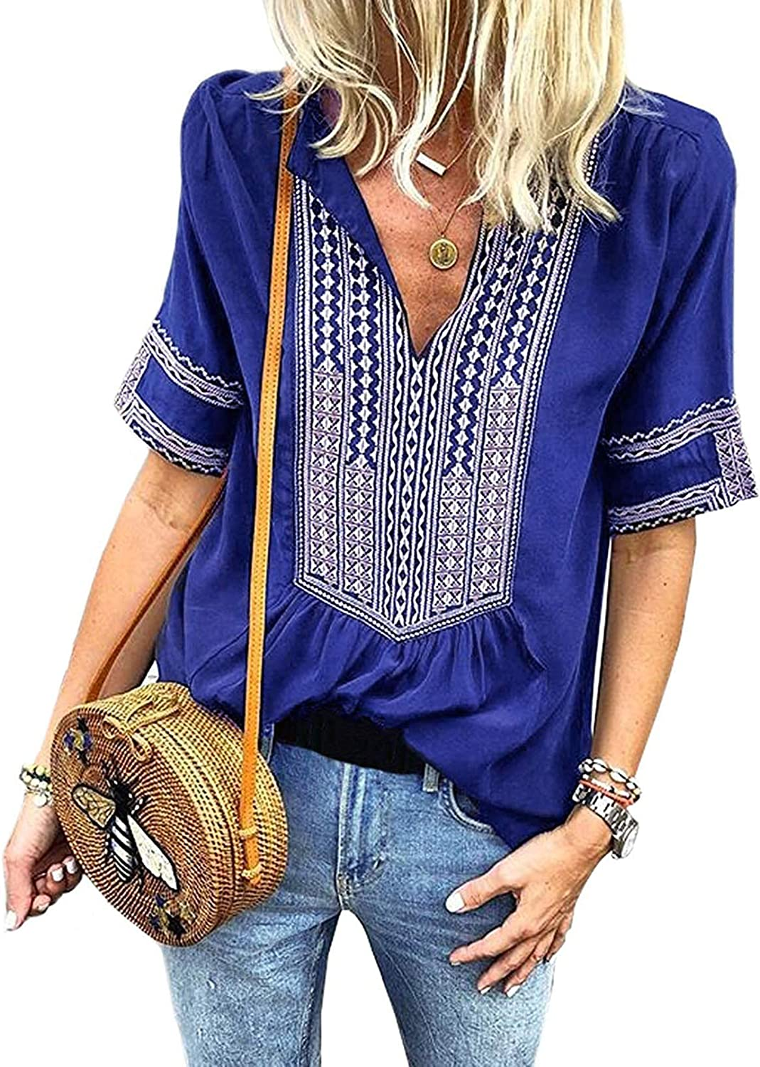 Chase Secret Womens Casual V Neck Shirt Boho Embroidered Print Short/Long Sleeve Tops Loose Blouse (S-XXL)