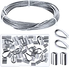 Canomo Cable Railing Kits Includes 1/16 inch x 33 Feet Stainless Steel Wire Rope Cable, 50 Pieces Aluminum Crimping Sleeves and 10 Pieces Stainless Steel Thimble for Railing,Decking, Picture Hanging