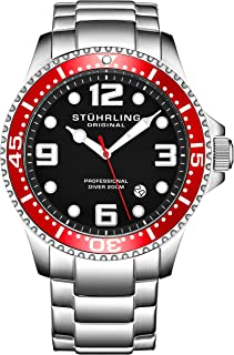 Mens Swiss Quartz Stainless Steel Sport Analog Dive Watch, Water Resistant 200 Meters, Black Dial, Aqua-Diver