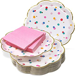 """9"""" Paper Party Plates and Cocktail Napkins Set – Ultra-Thick 400GSM Disposable Plates Won't Become Soggy – Pink and Gold P..."""