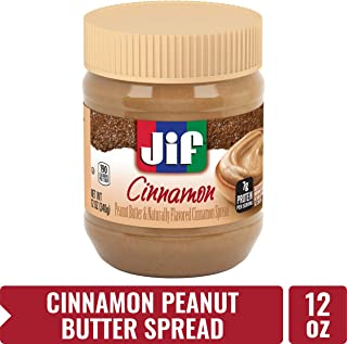 Jif Cinnamon Peanut Butter Spread, 12 oz. (8 count) – 7g (7% DV) of Protein per Serving, Creamy Peanut Butter with Naturally Flavored Cinnamon