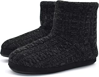 fa1184382935 Knit Rock Wool Warm Men Indoor Pull on Cozy Memory Foam Slipper Boots with  Soft Rubber
